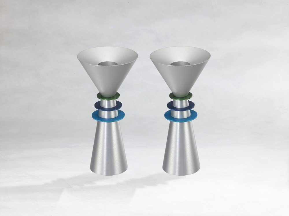 Shabbat Cone Candlesticks in Shades of Blue