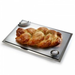 A Shabbat Shalom challah board with stainless steel, magnetic attachments.